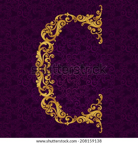 Gold font type letter C, uppercase. Vector baroque element of golden alphabet made from curls and floral motifs. Victorian ABC element in vector. - stock vector
