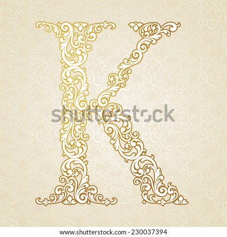 Gold font type letter K, uppercase. Vector baroque element of golden vintage alphabet made from curls and floral motifs. Victorian ABC element in vector. - stock vector