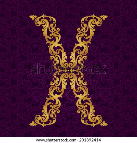 Gold font type letter X. Vector baroque element of golden alphabet made from curls and floral motifs. Victorian ABC element in vector. - stock vector