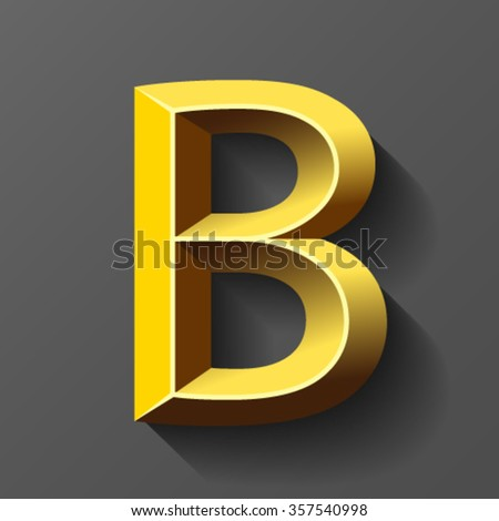 Gold font with bevel, letter B vector - stock vector