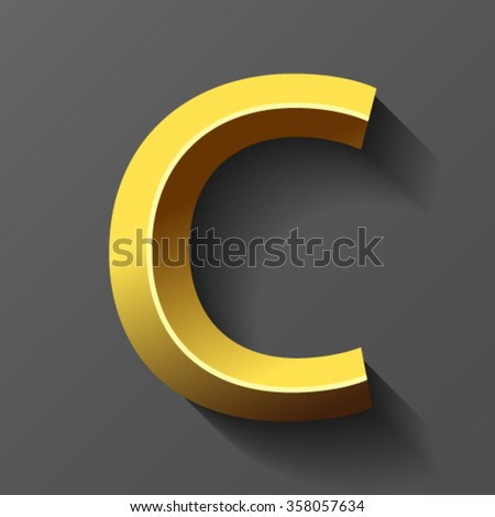 Gold font with bevel, letter C vector - stock vector
