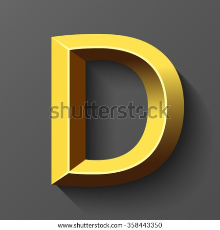 Gold font with bevel, letter D vector - stock vector
