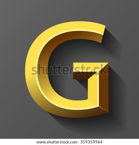 Gold font with bevel, letter G vector - stock vector