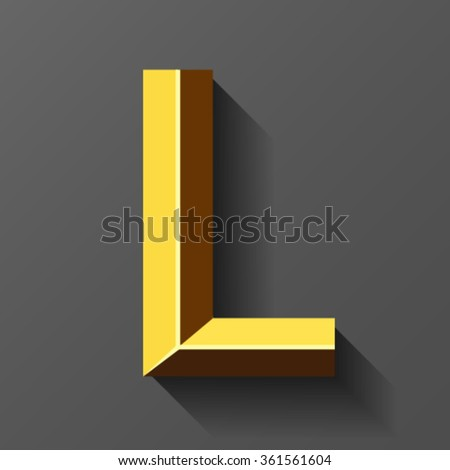 Gold font with bevel, letter L vector - stock vector