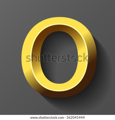 Gold font with bevel, letter O vector - stock vector