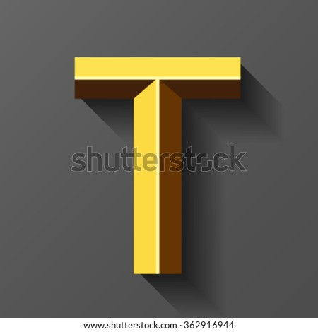 Gold font with bevel, letter T vector - stock vector