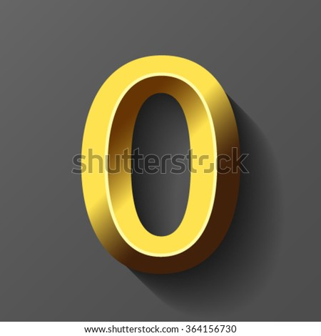 Gold font with bevel, number 0 vector - stock vector