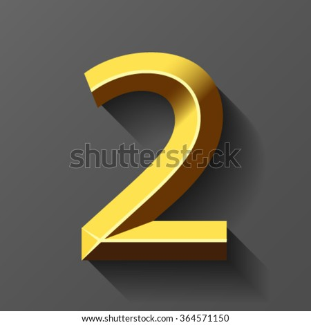 Gold font with bevel, number 2 vector - stock vector