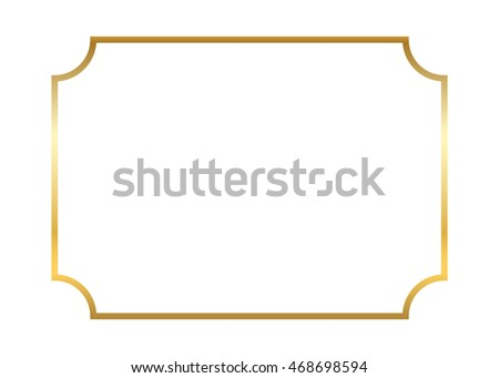 Gold frame. Beautiful simple golden design. Vintage style decorative border, isolated on white background. Deco elegant art object. Empty template for decoration, photo, banner. Vector illustration.