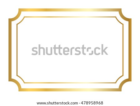 Gold frame. Beautiful simple golden design. Vintage style decorative  border, isolated on white