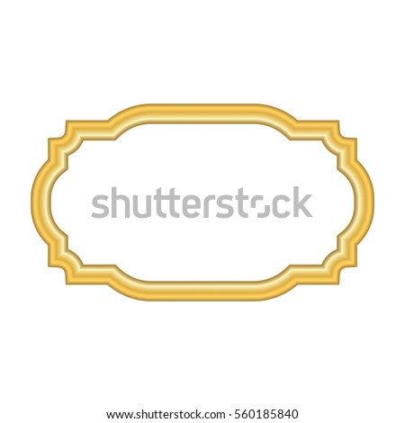 Gold Frame Beautiful Simple Golden Design Vintage Style Decorative Border Isolated On White