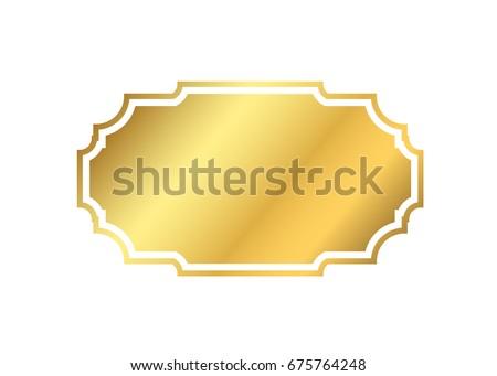 Gold Frame Beautiful Simple Golden Design Stock Vector 443300887