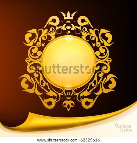 Gold Frame, eps10 - stock vector