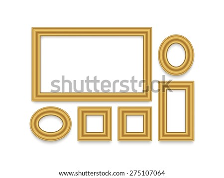 Gold Frame for text, picture, photo or your design. Vector isolated decorative element on white background. - stock vector