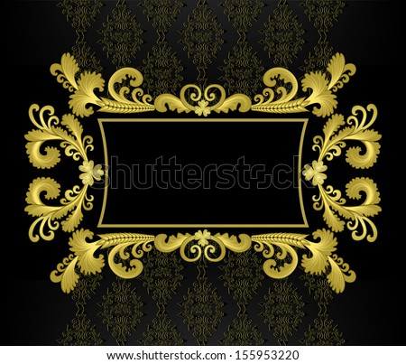 gold frame in the rococo style on a black background with a pattern - stock vector