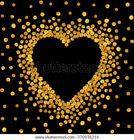 Gold frame in the shape of heart on black background. Pattern of golden acrylic confetti. Design element for festive banner, card, invitation, label, postcard, vignette. Vector illustration. - stock vector