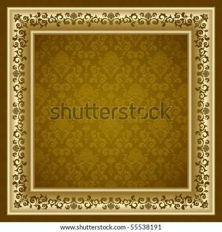 Gold frame on the brown background