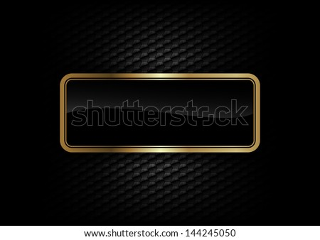 gold frame on the dark background - stock vector