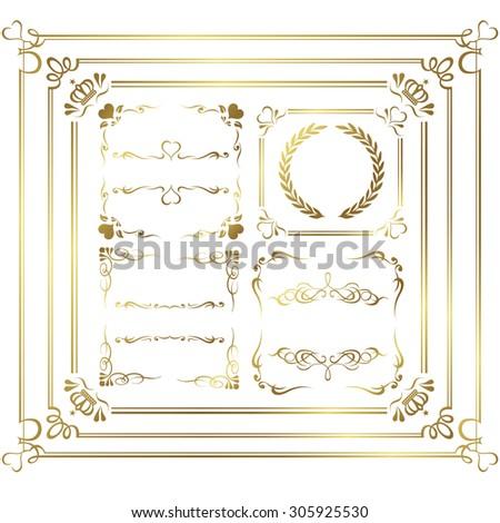 gold frame set Vector - stock vector