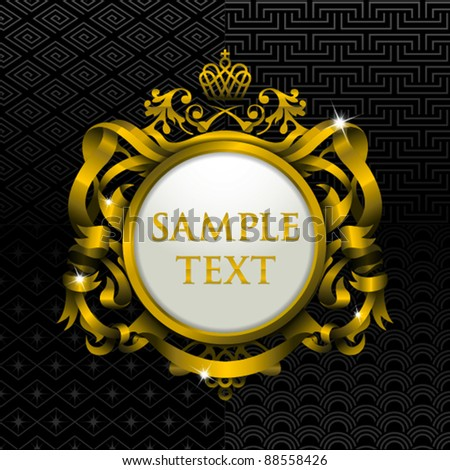 gold frame template with four sets of seamless background - stock vector