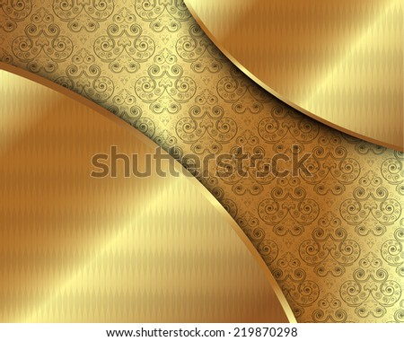 Gold frame with pattern and place for text - stock vector