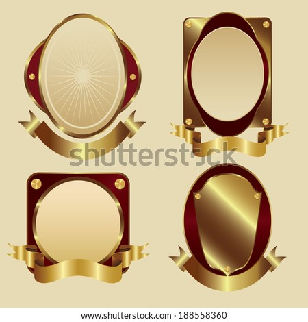 gold framed labels - stock vector