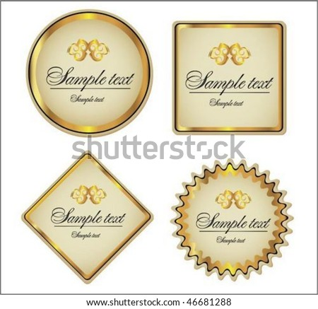 Gold-framed labels and sticker - stock vector