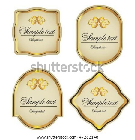 Gold-framed labels and stickers - stock vector