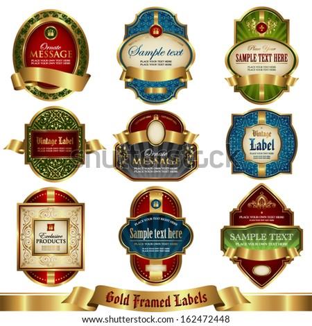 Gold framed labels set 4 - stock vector