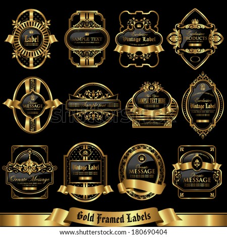 Gold framed labels set 9 - stock vector