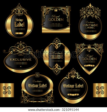 Gold framed labels - vector set