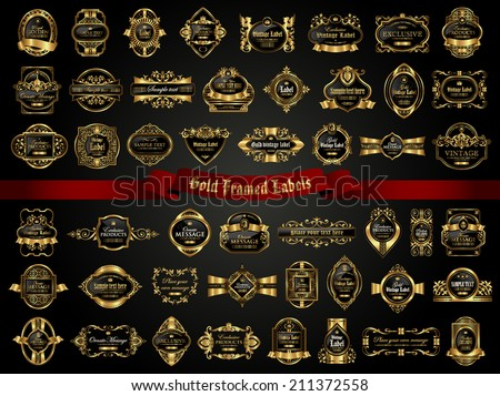 Gold framed labels - vintage style - stock vector