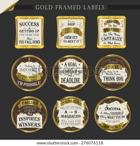 gold framed premium quality labels collections over dark - stock vector