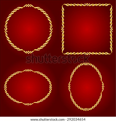 Gold frames Circle oval and square on the Red background vector illustration - stock vector