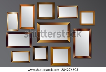 gold frames vector on old wall.