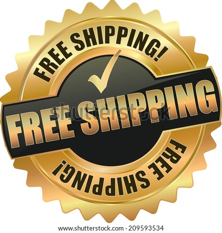 gold free shipping sign - stock vector