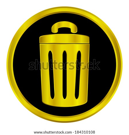 Gold garbage sign button on white background. - stock vector