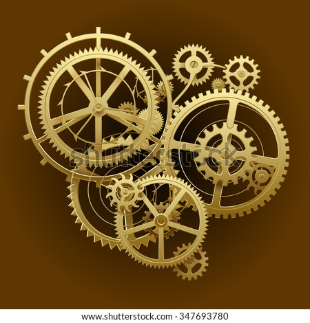 Gold gear wheels of clockwork in dark brown surface. Techno background. Vector Illustration - stock vector