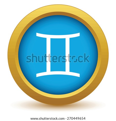 Gold Gemini icon on a white background. Vector illustration - stock vector