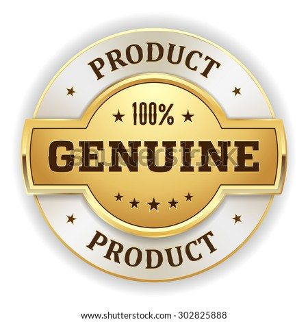 Gold genuine product  badge on white background - stock vector
