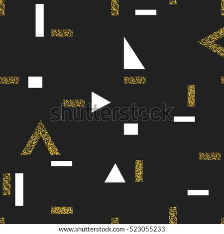 Gold geometric seamless pattern. On black background. Vector template for holiday designs