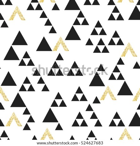 Gold geometric triangle seamless pattern. On white background. Vector template for holiday designs