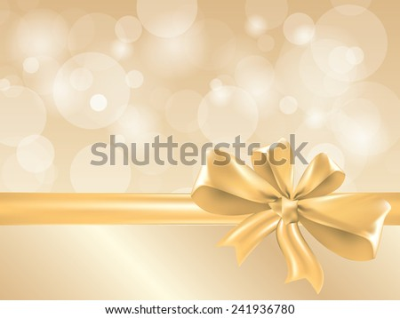 Gold gift bow and ribbon, place for text vector - stock vector