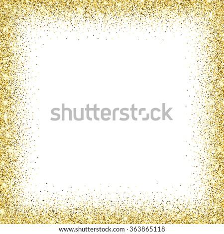 Gold glitter background. Gold frame sparkles on white background. - stock vector