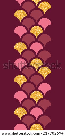 Gold glitter fish scale vertical border seamless pattern background - stock vector