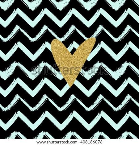 Gold Glitter Heart On Striped Chevron Background Vector Decoration Wrapping Wallpaper Invitation