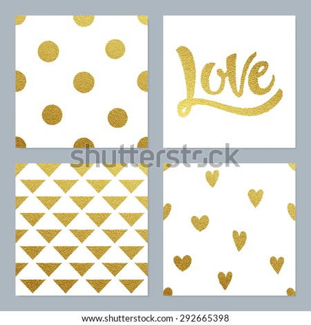 Gold glitter patterns set with dots, hearts, triangles and hand written Love lettering. - stock vector