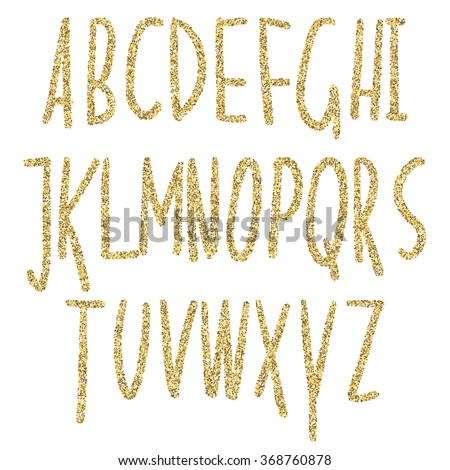 Gold glitter sparkling alphabet. Decorative golden luxury letters . Shiny glam abstract abc. Golden glitter text good for sale, holiday, voucher, shop, present, gift, header, wedding sparkle design.