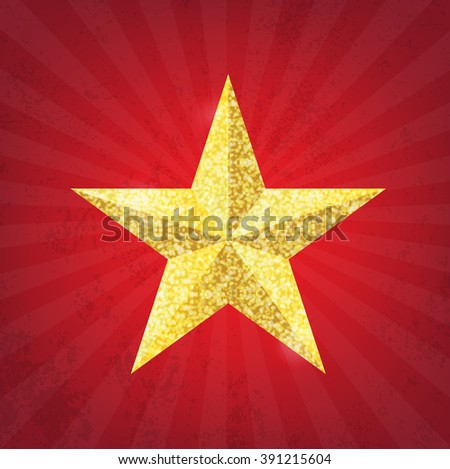 Gold glitter star on the red grunge background - stock vector