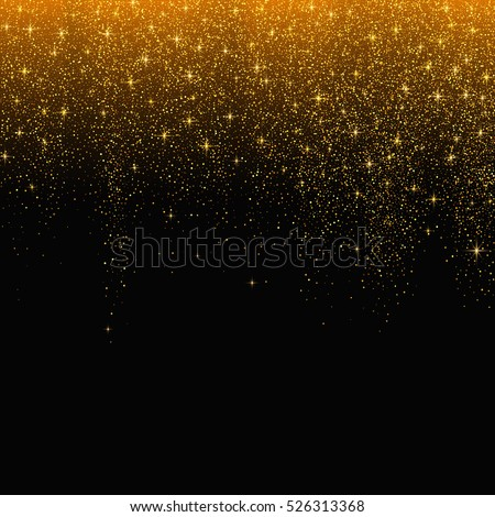 Gold glitter stardust background. Vector illustration.